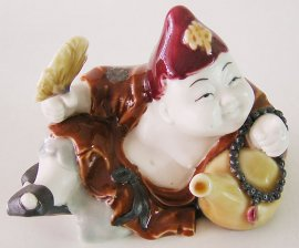 China Porcelain Ceramic Doll Figurine Lucky Joyful Happy Fortune Monk