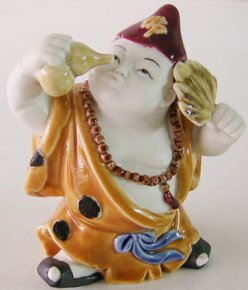 Chinese Porcelain Ceramic Doll Figurine Funny Joyful Happy Monk