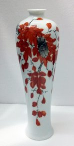 Unique Rare Fine Famille Rose Vase Painted with Plum Flowers