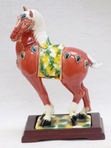 "9"" Sancai Tang Tri-Color Ceramic Ruby Horse Figurine Statue Decorative Ornament"