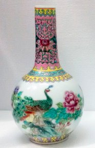 Porcelain Famille Rose Vase With Peacock On Flowering Tree Vintage Age-Old
