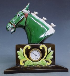 "9"" Tang Tri-Color Ceramic Jade Horse Head Statue Clock Symbol Of Success"