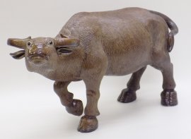 Chinese Ceramic Figurine Statue Feng Shui Bull Ox Sculpture